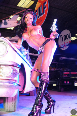Black Barbie in Shiny Latex Boots - pics 05