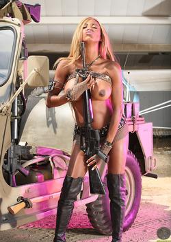 Busty Ebony Tyra Lex - Leather Boots - pics 01