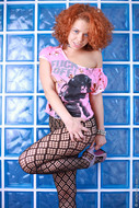 Crazy Redhead Bitch in Fishnet - pics 05