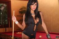 Stocking Babe Posing on Pooltable - pics 02