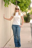 Busty Babe Alison Angel Jeans Strip - pics 00
