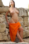 Busty Brunette Sofi Outdoor Posing - pics 16