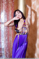 Yummy Exotic Chick in Satin Dress - pics 01