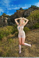 Real Blonde Sexbomb Posing Outdoors - pics 03