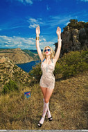 Real Blonde Sexbomb Posing Outdoors - pics 04