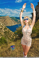 Real Blonde Sexbomb Posing Outdoors - pics 05