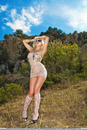 Real Blonde Sexbomb Posing Outdoors - pics 07