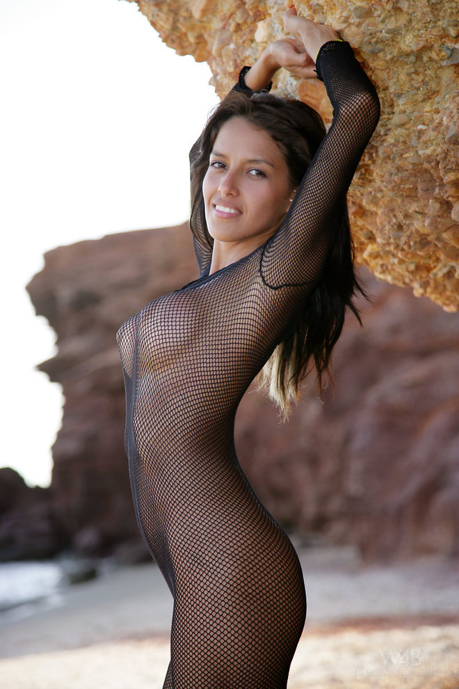 Latina Girl in Sexy Fishnet - picture 06