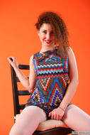 Daisy in Zigzag dress and fishnet - pics 01