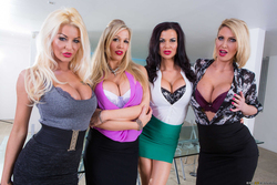 Four Big Boobed Sluts with one Cock - pics 00
