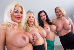 Four Big Boobed Sluts with one Cock - pics 03