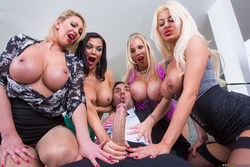 Four Big Boobed Sluts with one Cock - pics 07