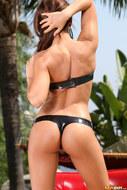 Busty Madison Ivy Black Latex Bikini - pics 02