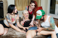 3 tattooed Bitches fuck one guy - pics 03