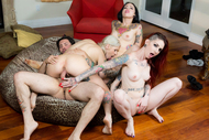 3 tattooed Bitches fuck one guy - pics 12
