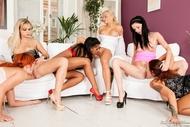 Rebelde Six Oiled Lesbians Fuck - pics 07