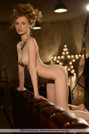 Nika Poses in Orange Stockings - pics 11