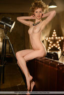 Nika Poses in Orange Stockings - pics 12