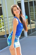 Megan Gorgeous in Blue Dress - pics 00