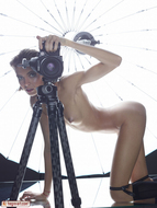 Oiled Slim Babe Photographer - pics 09