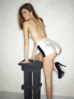 Victoria R in Shiny Disco Shorts - pics 02