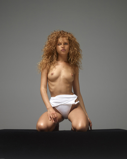 Curly Redhead Julia White Swimsuit - pics 06