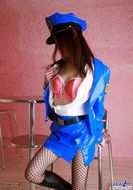 Misuzu Hiroze Blue Latex Officer - pics 08