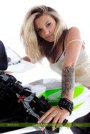 tattooed Blonde on a Motorbike - pics 00