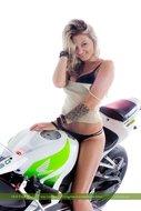 tattooed Blonde on a Motorbike - pics 05