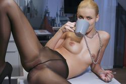 Nordica in Nylon Having a Coffee - pics 08
