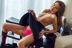 Skinny Babe Kalisy in Black Skirt - pics 06