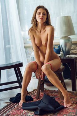 Skinny Babe Kalisy in Black Skirt - pics 12