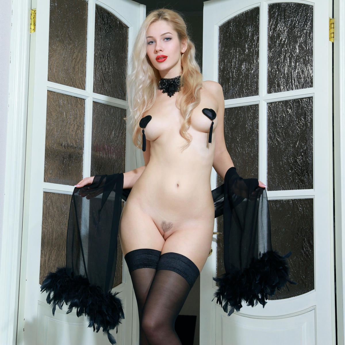 Blonde Genevieve Black Stockings - picture 00