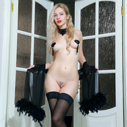 Blonde Genevieve Black Stockings - pics 00