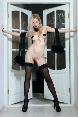 Blonde Genevieve Black Stockings - pics 01