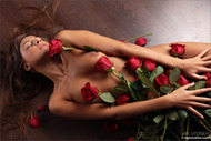 Naked Sexy Girl with Red Roses - pics 05