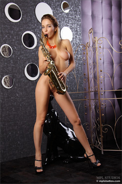 Nude Danica Playing the Saxophone - pics 08