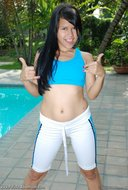 Cute Latina Fucking Herself Poolside - pics 02