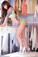 Ivy Snow Dotted Green Lingerie - pics 00