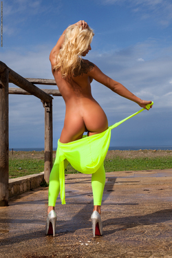 Busty Brigitta Neon Green Catsuit - pics 09