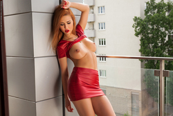 Justyna Dirty Redhead in Red Dress - pics 01