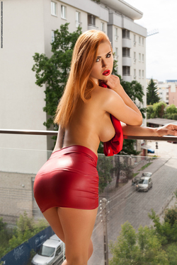 Justyna Dirty Redhead in Red Dress - pics 04