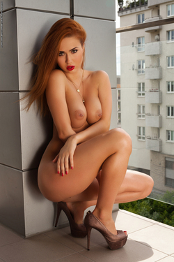 Justyna Dirty Redhead in Red Dress - pics 13