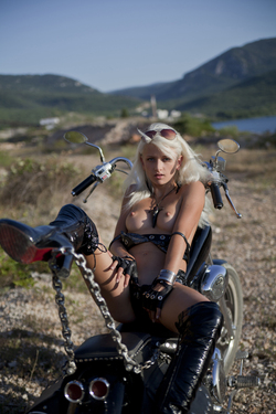 Platinum Blonde Biker Babe Nika N - pics 01