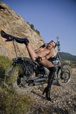 Platinum Blonde Biker Babe Nika N - pics 06