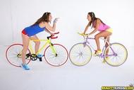 Four lesbian Babes on Fixie Bikes - pics 03