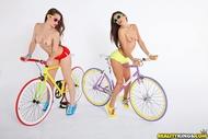 Four lesbian Babes on Fixie Bikes - pics 05