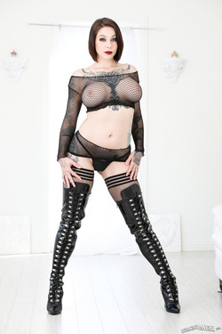 Busty Slut Fishnet and Latex Boots - pics 02