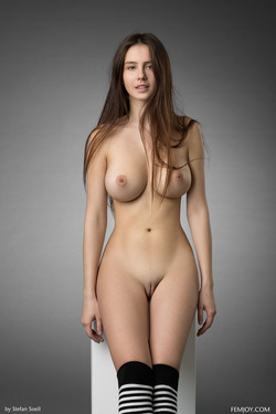 Busty Alisa I Striped Stockings - pics 16