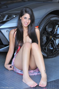 Busty Teen Lily Posing By My Lambo - pics 06